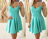 Стильное летнее платье в бирюзовом цвете