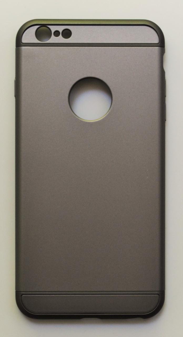 Чехол на Айфон 6 Plus/6s Plus 3 in 1 приятный Пластик Серебро