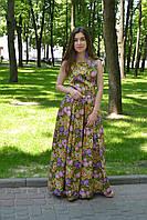 Яркое, цветочное зеленое платье в пол
