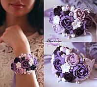 """Сиреневый браслет с цветами """"Лавандовый градиент с пионами"""", фото 1"""