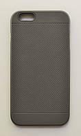 Чехол на Айфон 6 Plus/6s Plus рифленый Силикон с Металлическим бампером Серый, фото 1