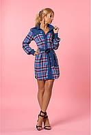 Модное летнее штапельное платье-рубашка с длинным рукавом