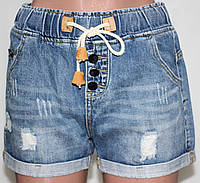 Шорты джинсовые молодежные женские, на шнуровке, размеры L, XL
