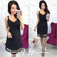 Платье женское чёрное с кружевом ЕФ/-180