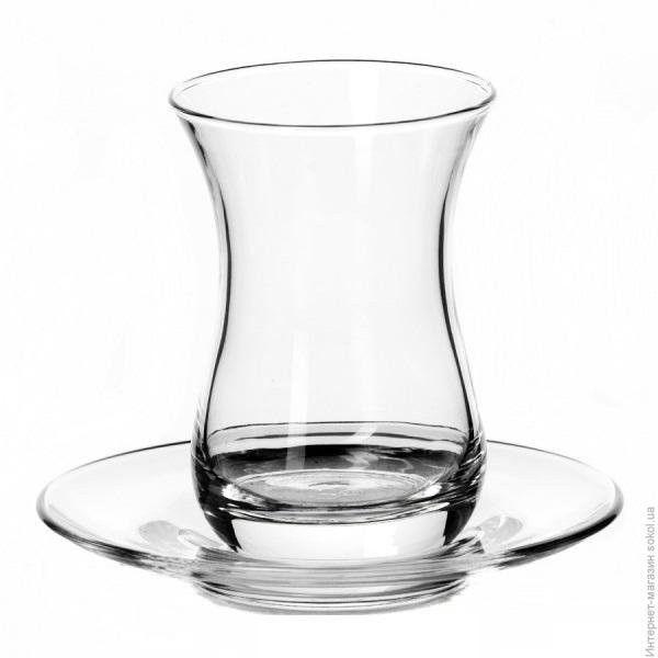 Стакан д/чая с блюдцем, турецк. Pasabahce Tea&Coffe 160 мл (h=95mm,d=66 mm), 6 шт. 96308