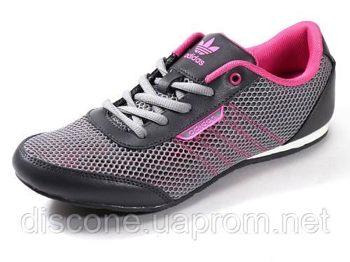 Кроссовки летние женские текстиль серые/розовые подросток спортивные шнурок Adidas