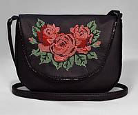 Сумка женская черная с розами код 9-39