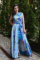 Яркое, цветочное голубое  платье в пол