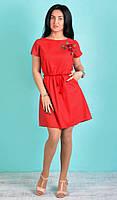 """Модное молодежное платье """"Этно"""" красного цвета."""