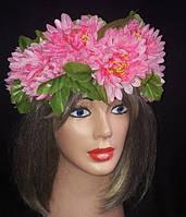 """Украинский веночек из цветов на голову """"Свежесть пионов"""""""