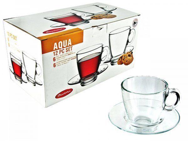 Чашка з блюдцем для чаю Pasabahce Aqua, 225 мл (h=82,5 мм,d=82х42мм), 6 шт. 95040