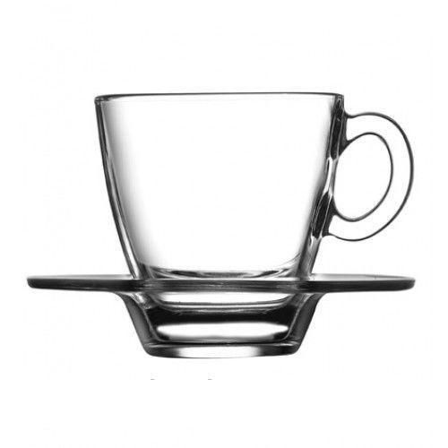 Чашка для кофе с блюдцем Pasabahce Aqua, 72 мл, 6 шт.