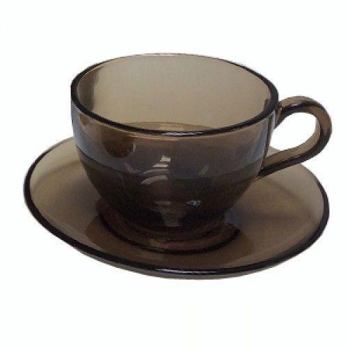 Чашка для чая с блюдцем Pasabahce Basic, 215 мл(h=64мм,d=91мм) BRONZE, 6 шт. 97948