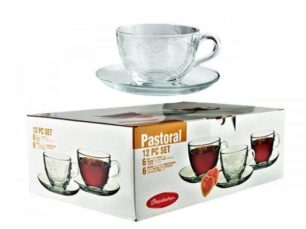 Чашка з блюдцем для чаю Pasabahce Pastoral, 220 мл (h=64мм,d=91х40мм), 6 шт. 95481