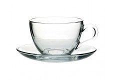 Чашка для чая с блюдцем Pasabahce Basic, 215 мл(h=64мм,d=91мм,блюдце d=137мм), 6 шт. 97948