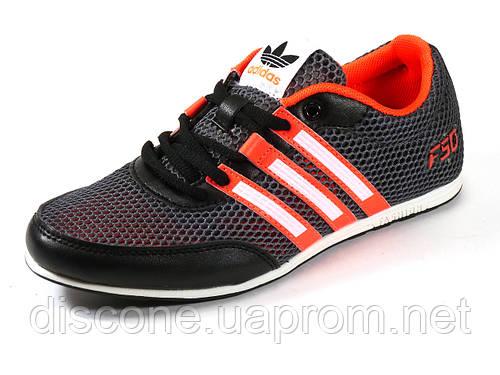 Кроссовки летние унисекс текстиль серые/красные подросток спортивные шнурок Adidas