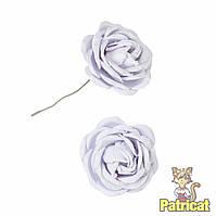 Белые цветы розы из бумаги 3 см 5 шт/уп