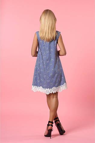 Летнее женское платье из джинсового коттона с красивым кружевом, фото 2