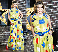 Шикарный летний сарафан выполнен в цвете-горчица с разноцветными ромашками. По бокам карманы.