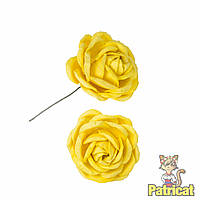 Желтые цветы розы из бумаги 3 см 5 шт/уп