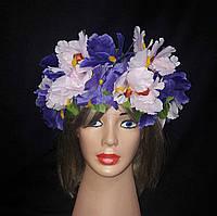 """Украинский веночек из цветов на голову """"Ирисы"""""""