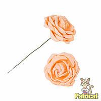 Персиковые цветы розы из бумаги 3 см 5 шт/уп