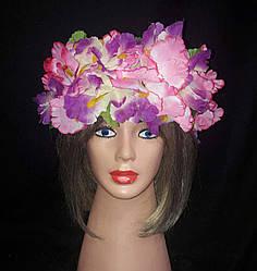"""Украинский веночек из цветов на голову """"Ирисы"""" (на широком обруче)"""