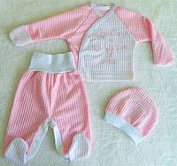 Набор для новорожденной девочки. Кофта, ползунки, шапочка