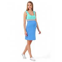 """Платье """"Триколор"""" для беременных и кормящих I love mum ментол/серый меланж"""