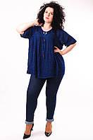 Блуза синяя (под джинс), батал, размер свободный, до 70 размера