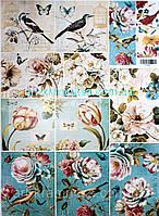 Лазерная декупажная карта Цветы и птицы