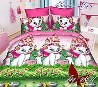 Постельное белье для детей  кошка Мэри. Полуторное постельное белье. 1,5 спальное белье. Постельный комплекты.