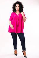 Блуза малиновая, батал, размер свободный, до 70 размера