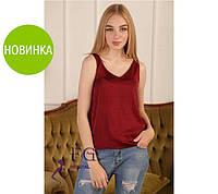 Атласная Майка-блузка «Алекса», в наличии  5 цветов, размеры 42- 48