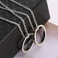 Двойные кулоны для друзей Best friends forever кольца серебристые