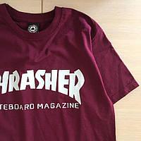 Thrasher Skateboard Magazine футболка бордовая \ Бирка, фото 1