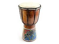 Барабан расписной дерево с кожей (24х14х14 см) ( 30254)