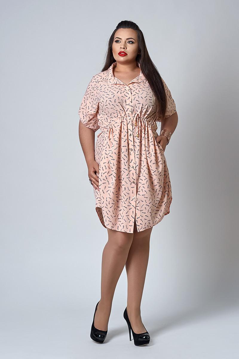 Платье мод №519-1, размер 54 розовое перо