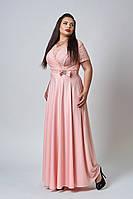 Женское платье-макси персикового цвета