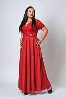 Стильное женское длинное платье красного цвета