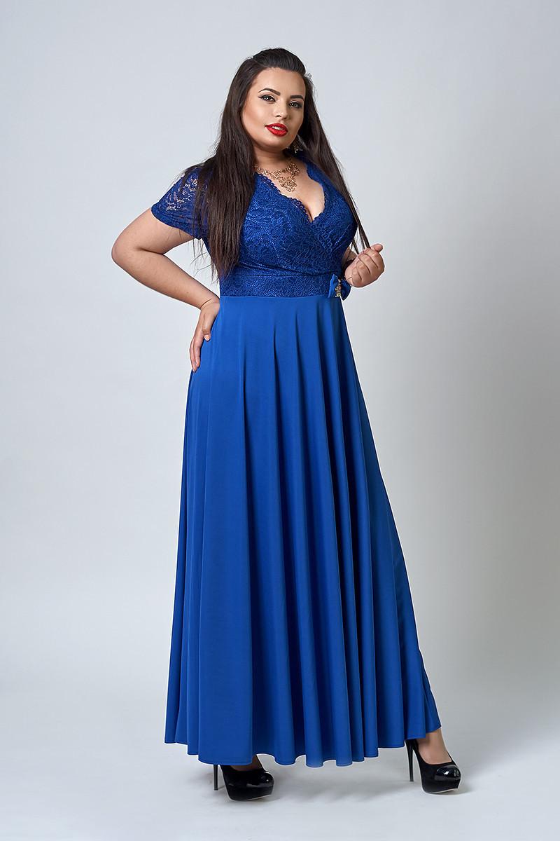 Элегантное женское платье в пол цвета электрик