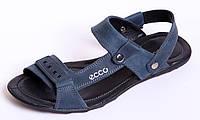 Босоножки-шлепанцы кожаные ECCO Nubuck Blue