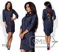 Платье-рубашка из летнего стрейч-джинса и крупной розой из страз  42-46