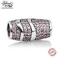 """Серебряная подвеска-шарм Пандора (Pandora) """"Розовая волна"""" для браслета"""