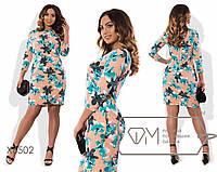 Платье-футляр приталенное из принтованной вискозы размер 48-54