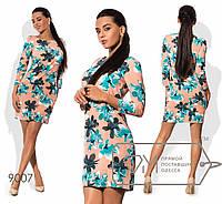 Платье-футляр приталенное из принтованной вискозы размер 42-46