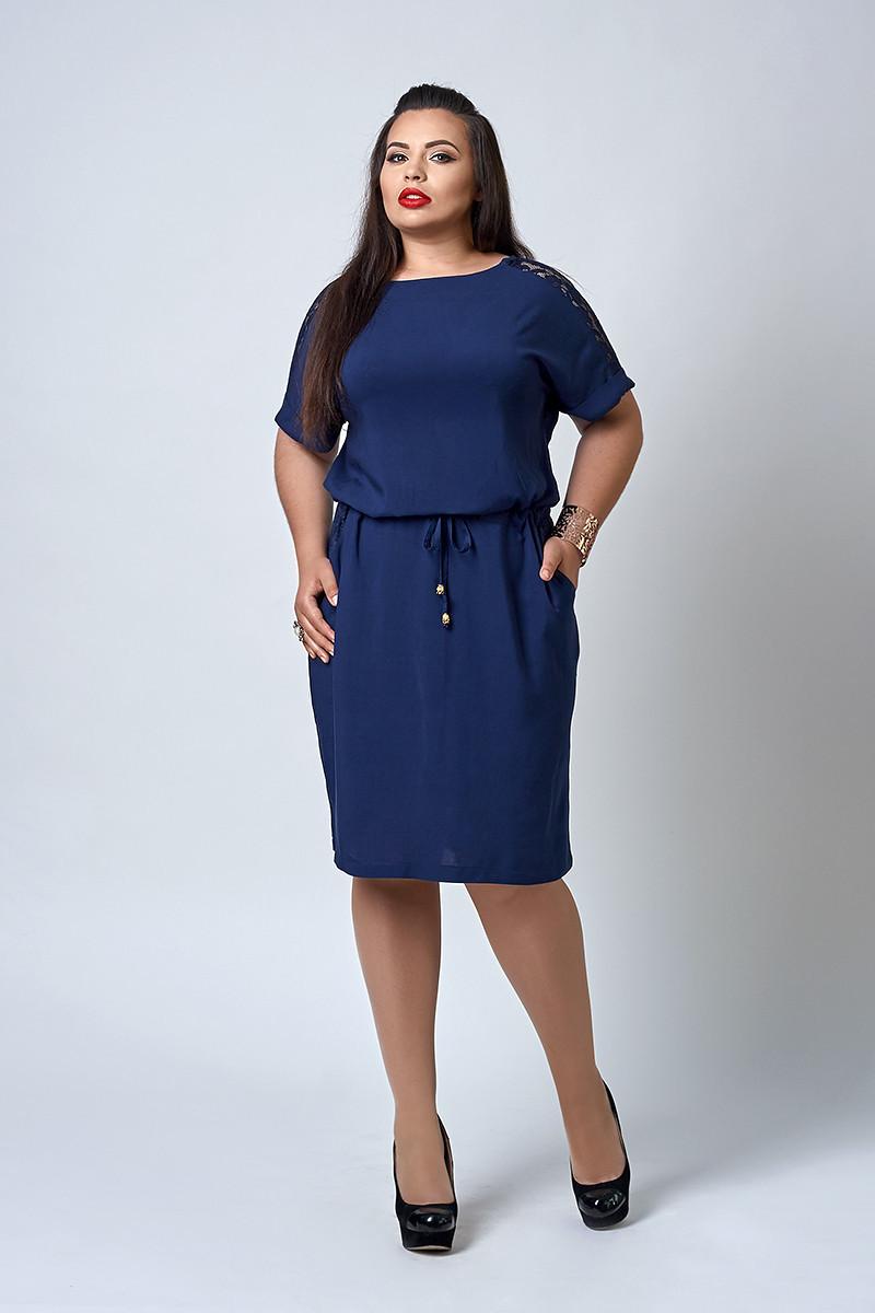 Платье с карманами темно-синего цвета