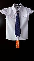 Девичья блузка с галстуком. Подростковая. Белого цвета.