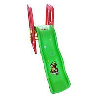 Детская пластиковая горка BambiМ 3149-2 с волнистым спуском «Маша и Медведь» (красная)