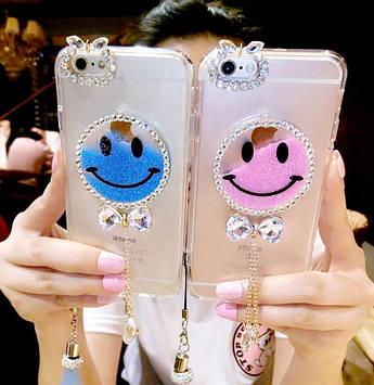 """HTC Desire 626 оригинальный чехол бампер накладка со стразами камнями на телефон с гелем """"SMILE"""""""